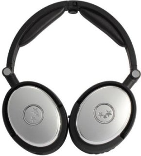 Able Planet True Fidelity NC210SCSM Foldable Active Noise Canceling Around the Ear Headphones Silver with Chrome Trim