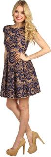 ABS Allen Schwartz A-Line Pleated Lace Dress
