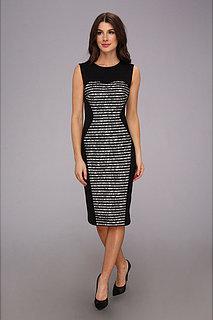 ABS Allen Schwartz Colorblocked Striped Lace Opera Length Dress