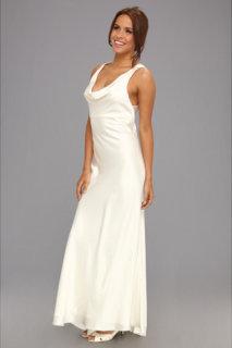 ABS Allen Schwartz Cowl Neck Crisscross Draped Dress