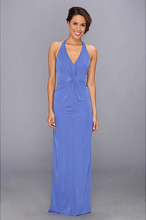 ABS Allen Schwartz Deep V-Neck Gown w/ Vertical Gathering