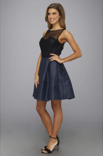 ABS Allen Schwartz Dot Jacquard Dress w/ Polka Dot Mesh Yoke