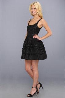 ABS Allen Schwartz Dot Jacquard Flared Dress