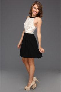 ABS Allen Schwartz Fabric Blocked A-Line Flared Dress