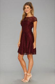 ABS Allen Schwartz Flair Lace Dress w/ Cutout Back