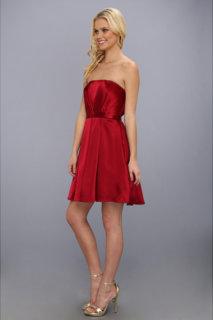 ABS Allen Schwartz Pleated Bustier Dress w/ Belted Waist