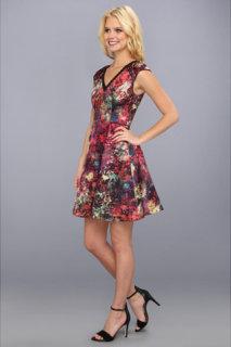 ABS Allen Schwartz Printed Satin Fit and Flare Dress