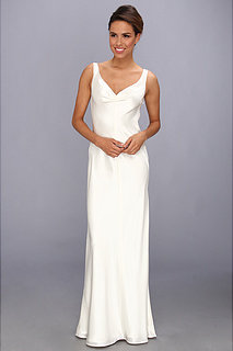 ABS Allen Schwartz Sleeveless V-Neck Gown With Embellished Back