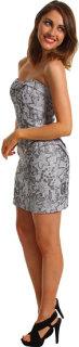 ABS Allen Schwartz Strapless Bustier Dress W/Slit