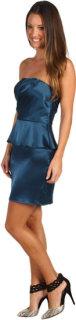 ABS Allen Schwartz Strapless Gathered Bodice Peplum Dress