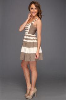 ABS Allen Schwartz Striped Inverted Pleat Dress