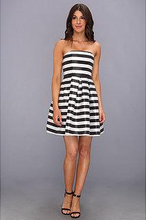 ABS Allen Schwartz Striped Pleated Bustier Dress