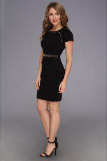 ABS Allen Schwartz Studded Ponte Sheath Dress