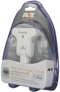 """ABT Electronics PowerJet """" White """" Dual Function iPod Car Charger / iPod Accessory Dock for Top Docking iPods / Allows Top Docking Accessories for Bottom Docking iPods.White"""