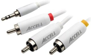 Accell 7' Stereo Audio RCA and Composite Video Cable for iPod 3.5mm Male to Three RCA Male