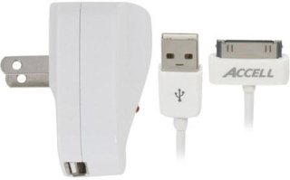 Accell AC Power Adapter and USB to Dock Connector Cable for iPod and iPhone Sync/Charge