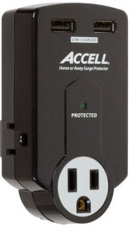 Accell Home or Away Power Station 3 Outlet Travel Surge Protector Black