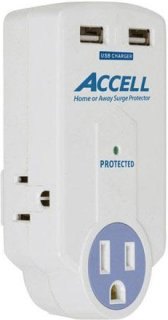 Accell Home or Away Power Station 3 Outlet Travel Surge Protector White