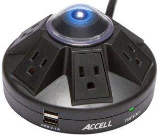 Accell Powramid Power Center and USB Charging Station 1080J Green Switch 6' Cord Black