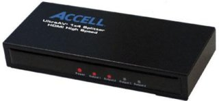 Accell UltraAV Mini 1x4 HDMI Audio/Video Splitter Mirrors an HDMI A/V Source on up to 4 HDMI Displays
