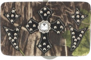 Accessories Plus Camo Cross and Bling Clasp Wallet