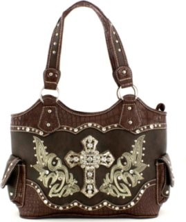 Accessories Plus Cross and Boot Stitched Handbag