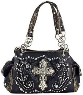 Accessories Plus Cross and Rhinestone Handbag