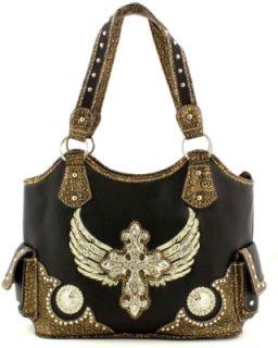 Accessories Plus Cross and Wing Rhinestone Double Shoulder Handbag