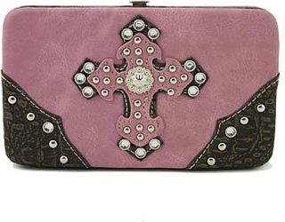 Accessories Plus Double Cross Rhinestone Flat Cutch Wallet