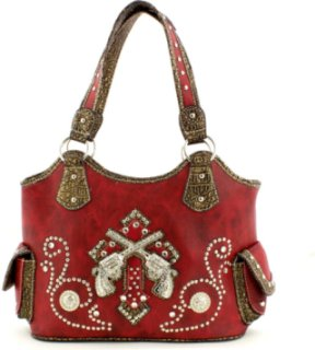 Accessories Plus Double Pistol and Rhinestone Handbag