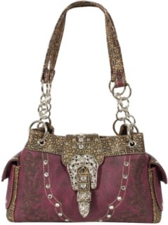 Accessories Plus Embroidered and Gator Print Western Handbag