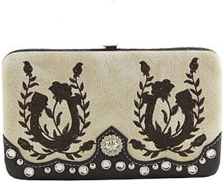 Accessories Plus Embroidered Horseshoe and Bling Clasp Wallet