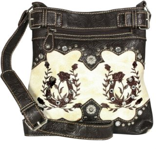 Accessories Plus Embroidered Horseshoes and Roses Messenger Bag