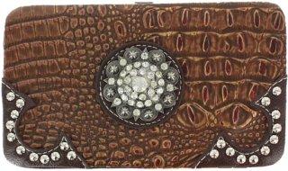 Accessories Plus Faux Gator Skin Rhinestone Wallet