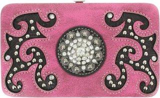 Accessories Plus Filigree Overlay Rhinestone Wallet
