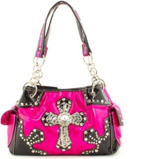 Accessories Plus Metallic and Hair on Hide Cross Handbag
