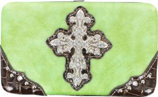 Accessories Plus Metallic Rhinestone Cross Flat Clutch Wallet