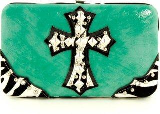 Accessories Plus Metallic Zebra Cross Flat Clutch Wallet