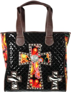 Accessories Plus Quilted Patent Leather Floral Cross Purse