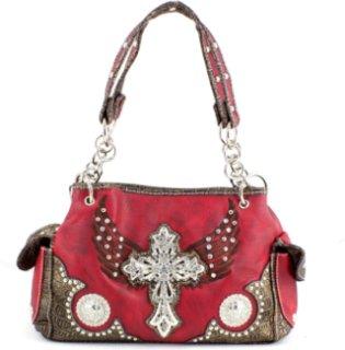 Accessories Plus Rectangle Cross and Wing Rhinestone Handbag