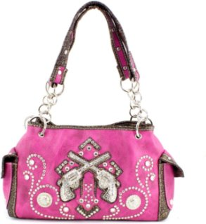 Accessories Plus Rectangle Double Pistol and Rhinestone Handbag