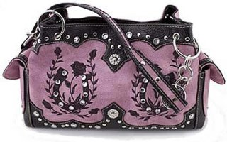 Accessories Plus Rectangle Embroidered Horseshoes and Roses Handbag