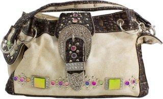 Accessories Plus Rectangle Rhinestone and Gator Print Handbag