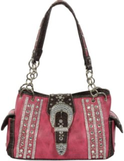 Accessories Plus Rhinestone and Buckle Handbag