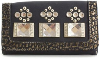 Accessories Plus Rhinestone and Faux Leather Wallet