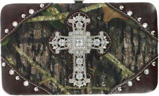 Accessories Plus Rhinestone Cross and Camo Clutch Wallet