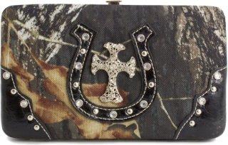 Accessories Plus Rhinestone Cross and Horseshoe Camo Clutch Wallet