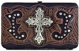 Accessories Plus Rhinestone Cross and Scrolled Clutch Wallet