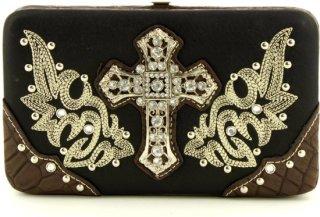 Accessories Plus Rhinestone Cross Faux Leather Clutch Wallet