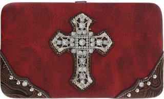 Accessories Plus Rhinestone Cross Flat Clutch Wallet